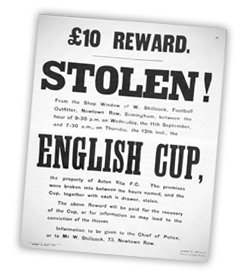 FA Cup Stolen 1895 from Birmingham Shop Window