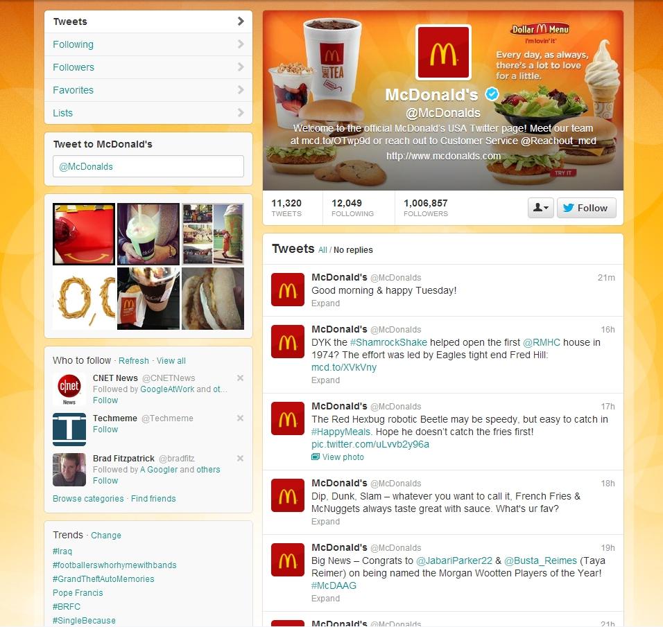 MC Donalds Twitter Brand