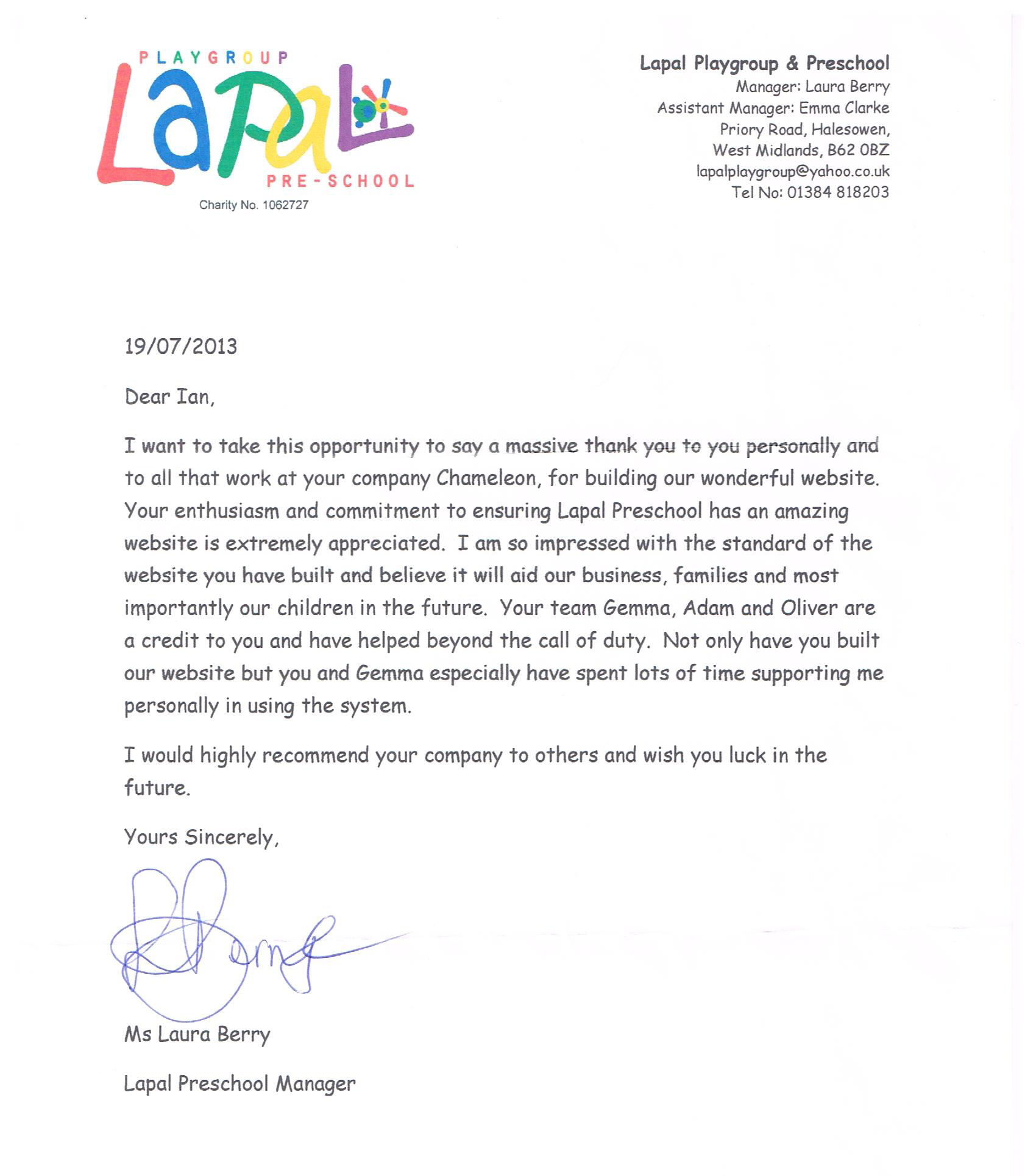 Chameleon Thank You Letter Review