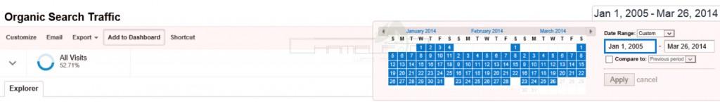 Google Analytics Date Range Settings