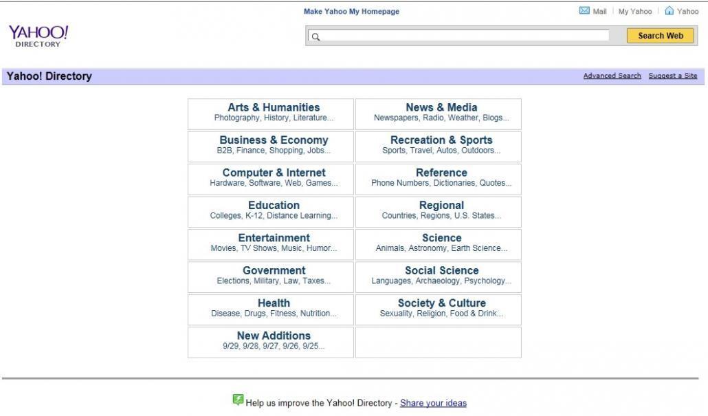 Yahoo Directory Screenshot - Closing 31st December 2014
