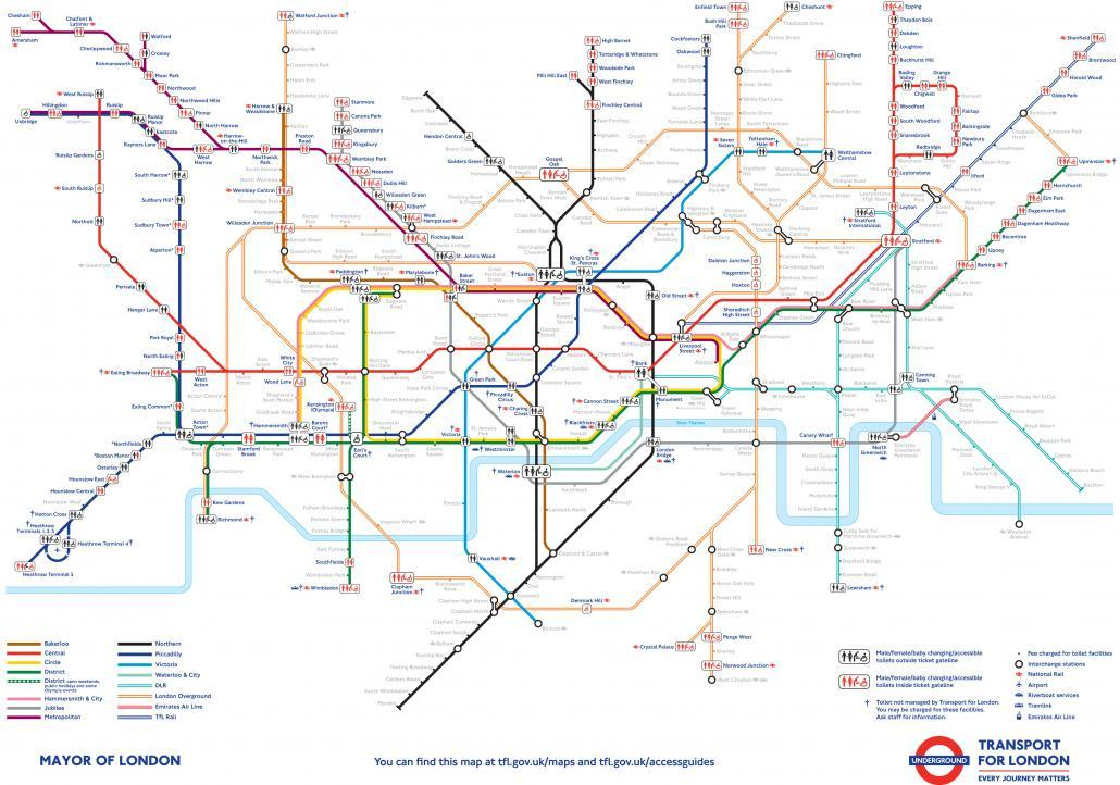 London Tube Toilets Map 2015
