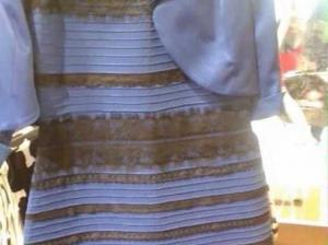 white and gold or blue and black dress
