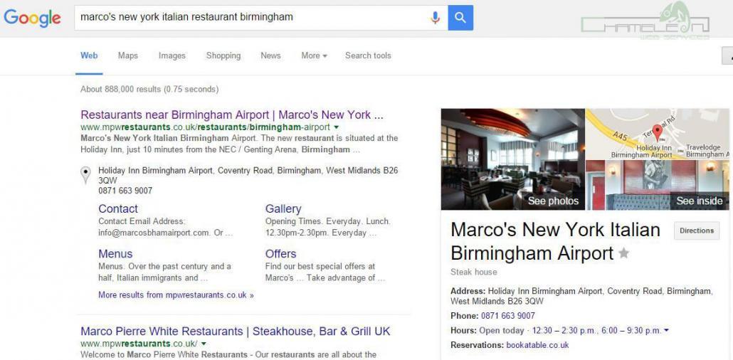 Marco's New York Italian Birmingham Airport Google Pin