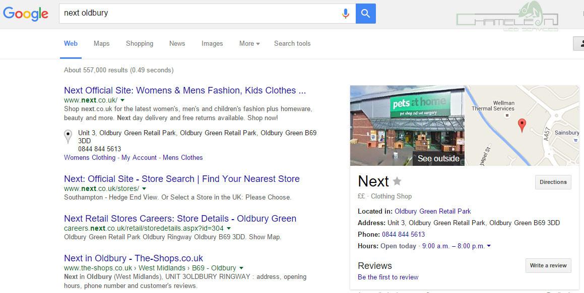 Next Oldbury Google Pin Problem