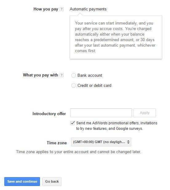 Google Adwords Setup Billing 2