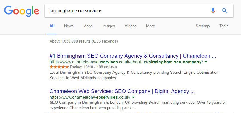 Birmingham SEO Services Google Search